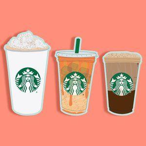 3 Starbucks Fall Drinks Sticker Pack GLOSSY